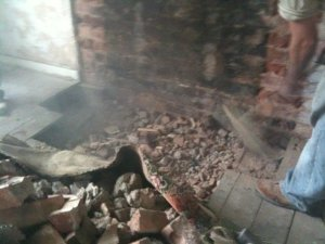 Dining room chimney breast demolished